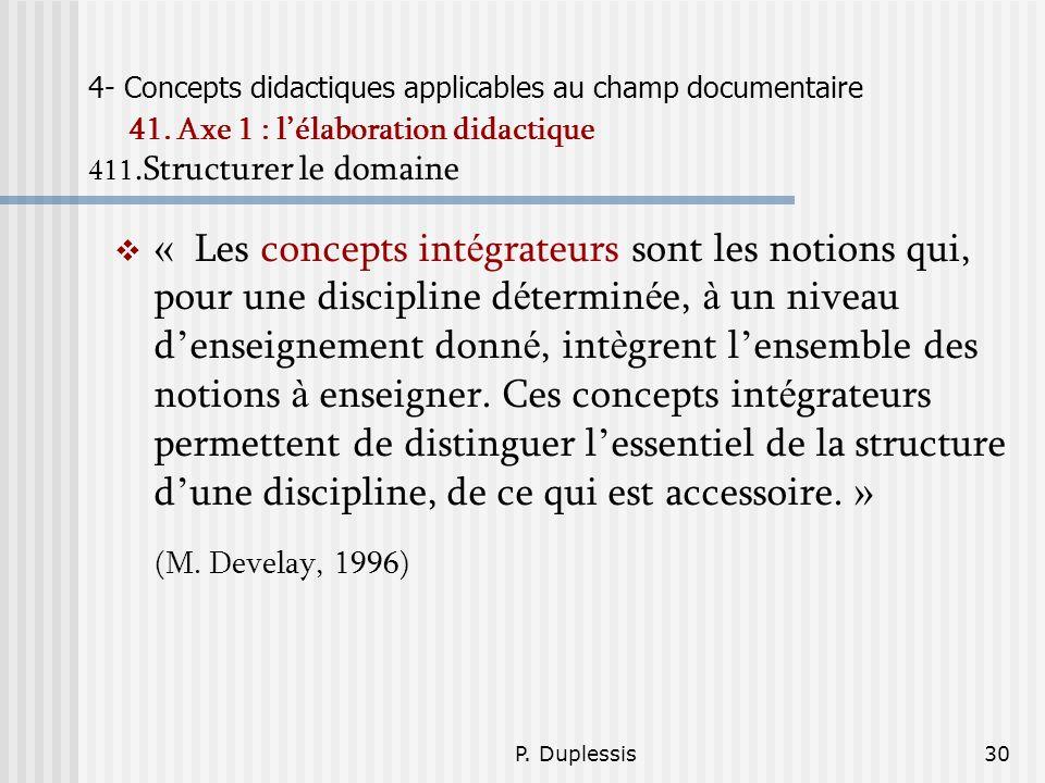 P. Duplessis30 4- Concepts didactiques applicables au champ documentaire 41. Axe 1 : lélaboration didactique 411.Structurer le domaine « Les concepts