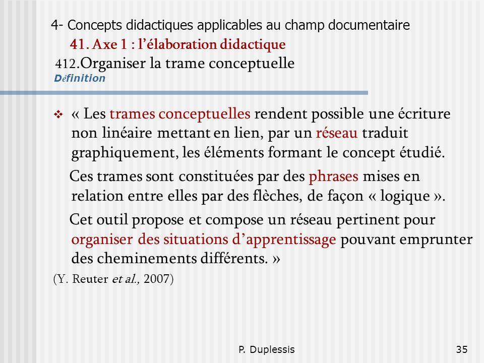 P. Duplessis35 4- Concepts didactiques applicables au champ documentaire 41. Axe 1 : lélaboration didactique 412.Organiser la trame conceptuelle D é f