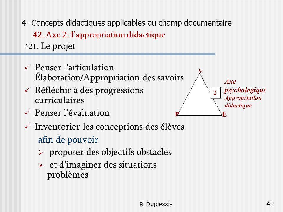 P. Duplessis41 4- Concepts didactiques applicables au champ documentaire 42. Axe 2: lappropriation didactique 421. Le projet Penser larticulation Élab