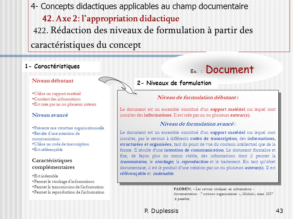 P.Duplessis43 4- Concepts didactiques applicables au champ documentaire 42.