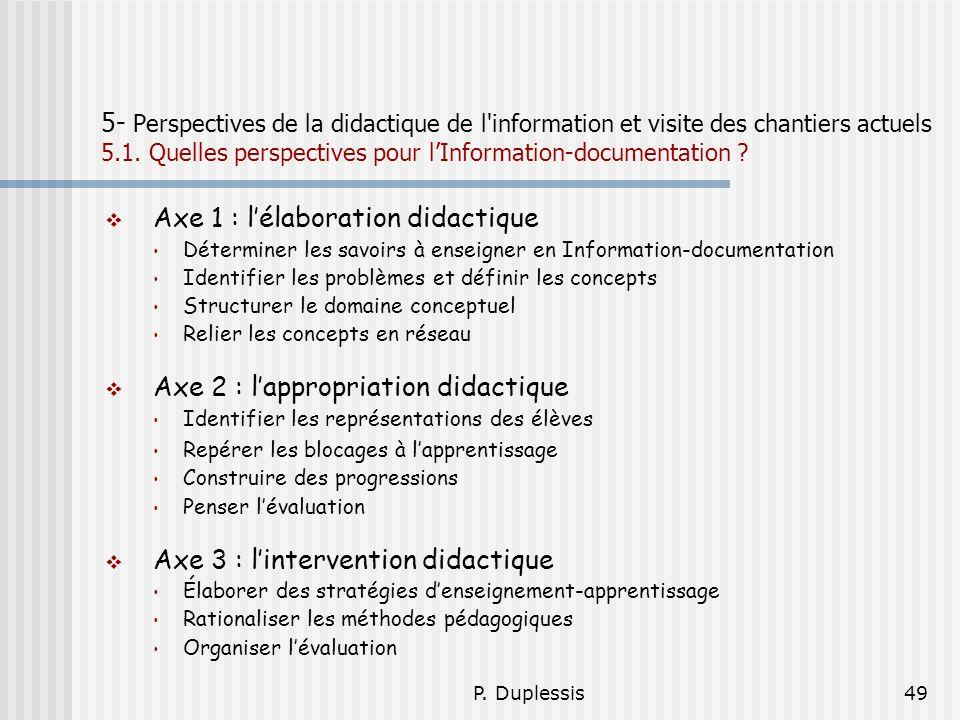 P. Duplessis49 5- Perspectives de la didactique de l'information et visite des chantiers actuels 5.1. Quelles perspectives pour lInformation-documenta