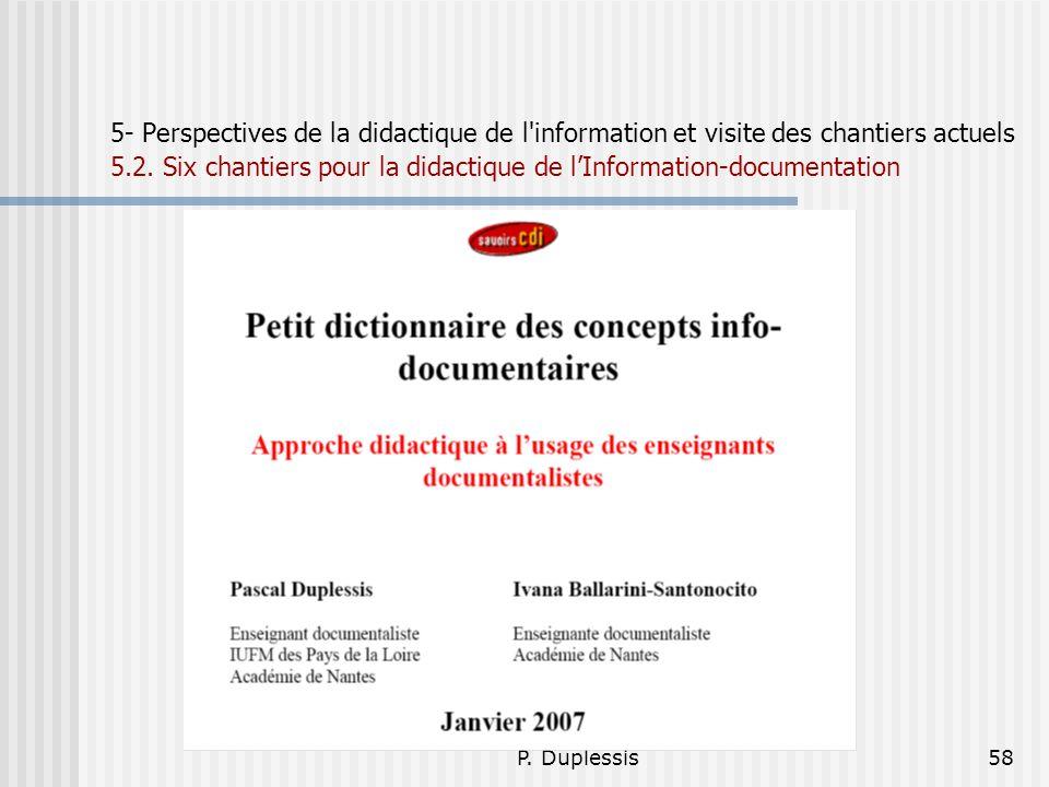 P. Duplessis58 5- Perspectives de la didactique de l'information et visite des chantiers actuels 5.2. Six chantiers pour la didactique de lInformation