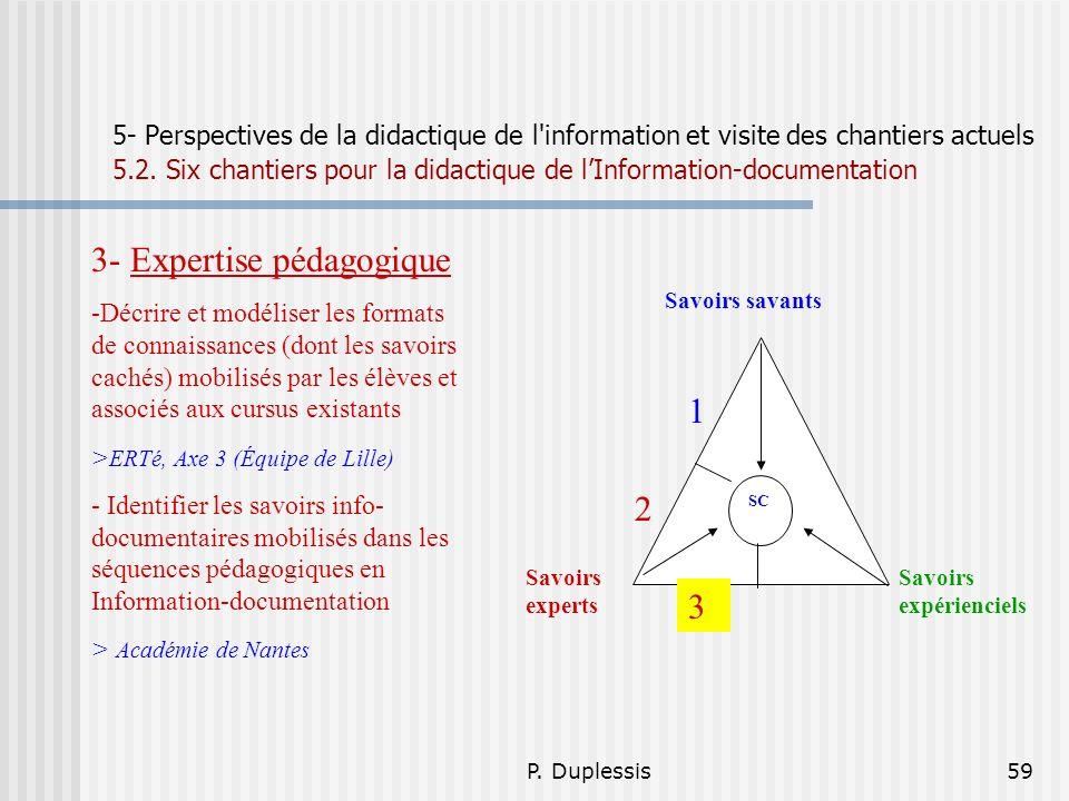 P. Duplessis59 5- Perspectives de la didactique de l'information et visite des chantiers actuels 5.2. Six chantiers pour la didactique de lInformation