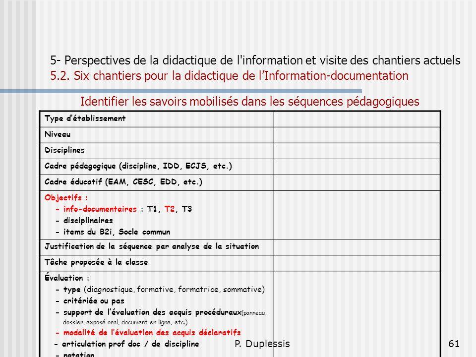 P. Duplessis61 5- Perspectives de la didactique de l'information et visite des chantiers actuels 5.2. Six chantiers pour la didactique de lInformation