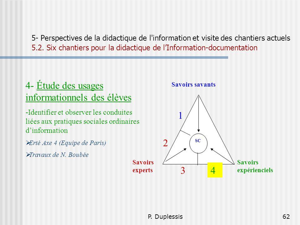 P. Duplessis62 5- Perspectives de la didactique de l'information et visite des chantiers actuels 5.2. Six chantiers pour la didactique de lInformation