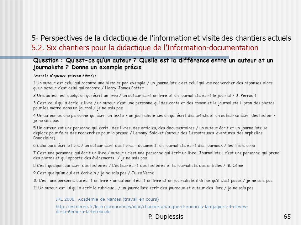P. Duplessis65 5- Perspectives de la didactique de l'information et visite des chantiers actuels 5.2. Six chantiers pour la didactique de lInformation