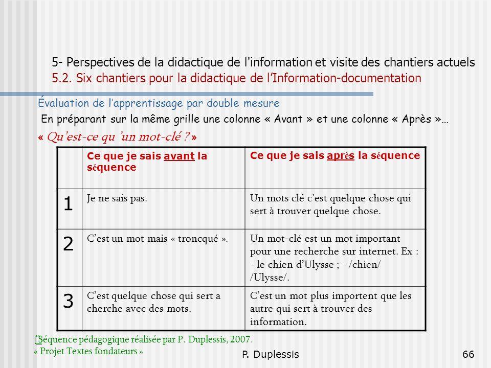 P. Duplessis66 5- Perspectives de la didactique de l'information et visite des chantiers actuels 5.2. Six chantiers pour la didactique de lInformation