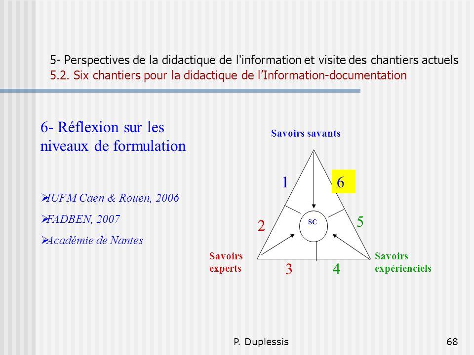 P. Duplessis68 5- Perspectives de la didactique de l'information et visite des chantiers actuels 5.2. Six chantiers pour la didactique de lInformation