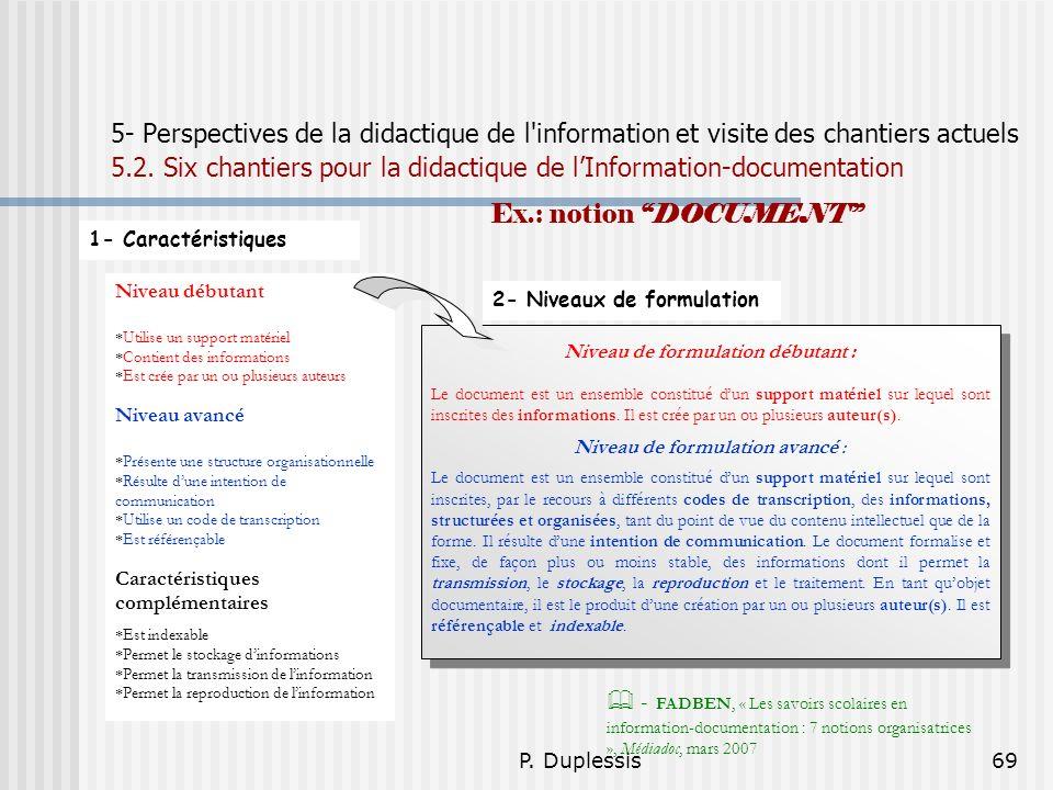 P. Duplessis69 5- Perspectives de la didactique de l'information et visite des chantiers actuels 5.2. Six chantiers pour la didactique de lInformation