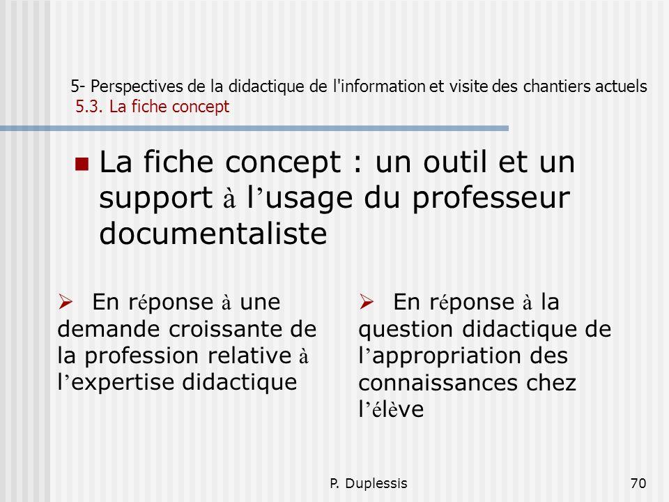 P. Duplessis70 5- Perspectives de la didactique de l'information et visite des chantiers actuels 5.3. La fiche concept La fiche concept : un outil et