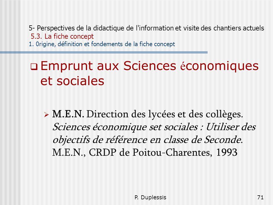 P. Duplessis71 5- Perspectives de la didactique de l'information et visite des chantiers actuels 5.3. La fiche concept 1. 0rigine, définition et fonde