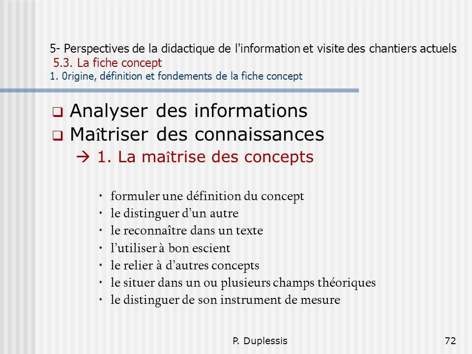 P. Duplessis72 5- Perspectives de la didactique de l'information et visite des chantiers actuels 5.3. La fiche concept 1. 0rigine, définition et fonde