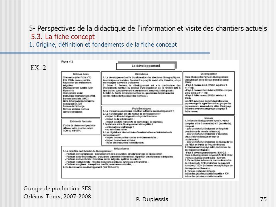 P. Duplessis75 5- Perspectives de la didactique de l'information et visite des chantiers actuels 5.3. La fiche concept 1. 0rigine, définition et fonde