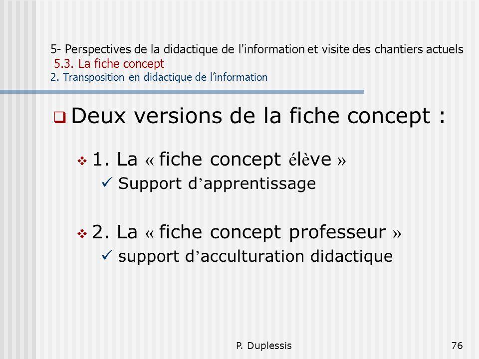 P. Duplessis76 5- Perspectives de la didactique de l'information et visite des chantiers actuels 5.3. La fiche concept 2. Transposition en didactique