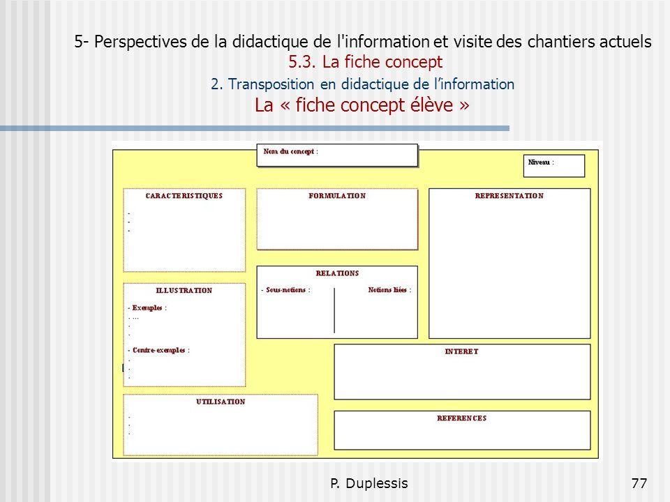 P. Duplessis77 5- Perspectives de la didactique de l'information et visite des chantiers actuels 5.3. La fiche concept 2. Transposition en didactique