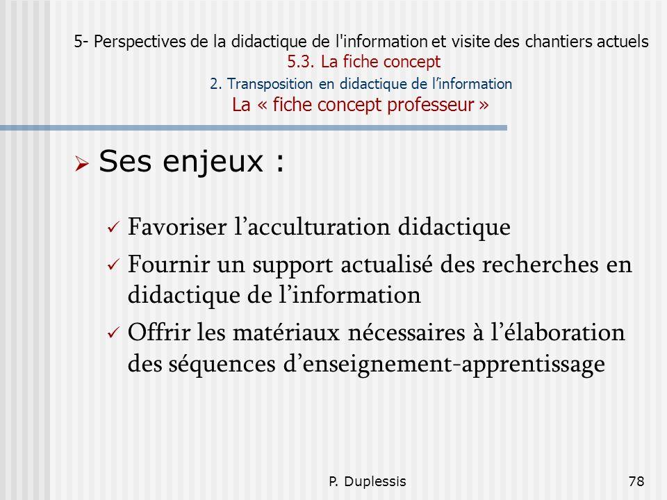 P. Duplessis78 5- Perspectives de la didactique de l'information et visite des chantiers actuels 5.3. La fiche concept 2. Transposition en didactique