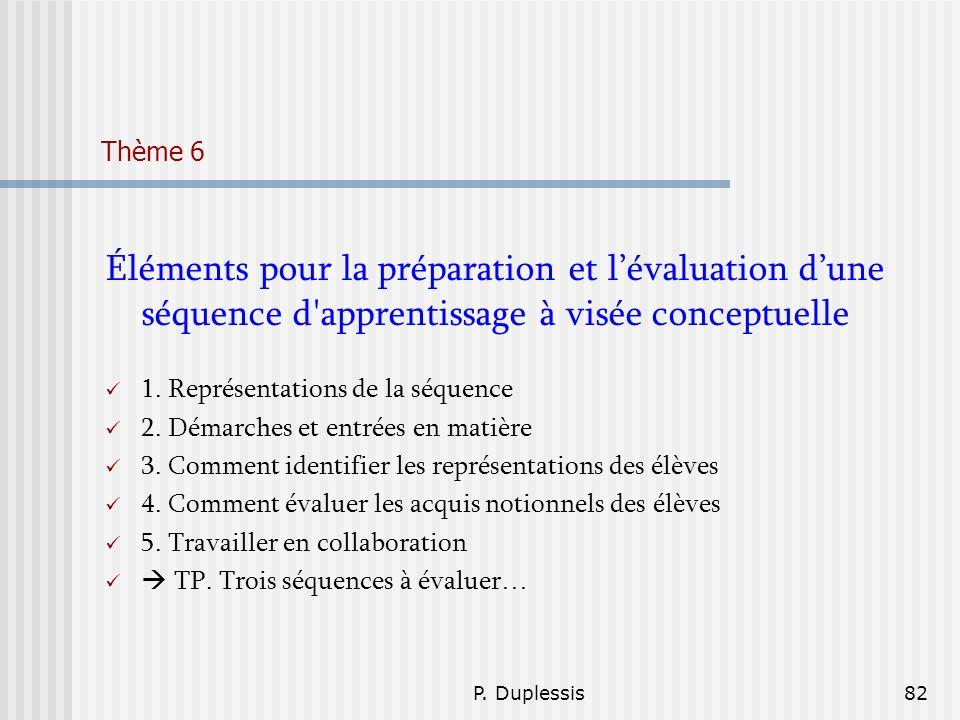 P. Duplessis82 Thème 6 Éléments pour la préparation et lévaluation dune séquence d'apprentissage à visée conceptuelle 1. Représentations de la séquenc