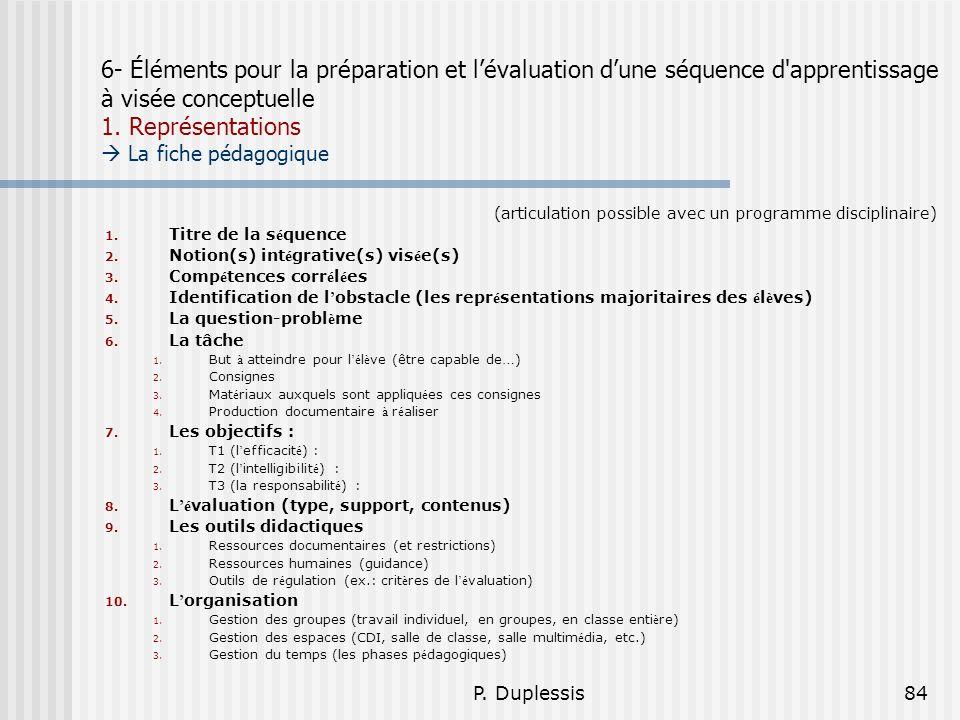 P. Duplessis84 6- Éléments pour la préparation et lévaluation dune séquence d'apprentissage à visée conceptuelle 1. Représentations La fiche pédagogiq