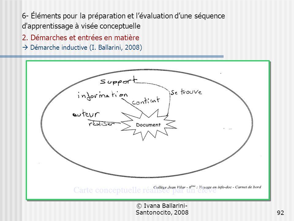 © Ivana Ballarini- Santonocito, 200892 Carte conceptuelle réalisée par un élève 6- Éléments pour la préparation et lévaluation dune séquence d'apprent