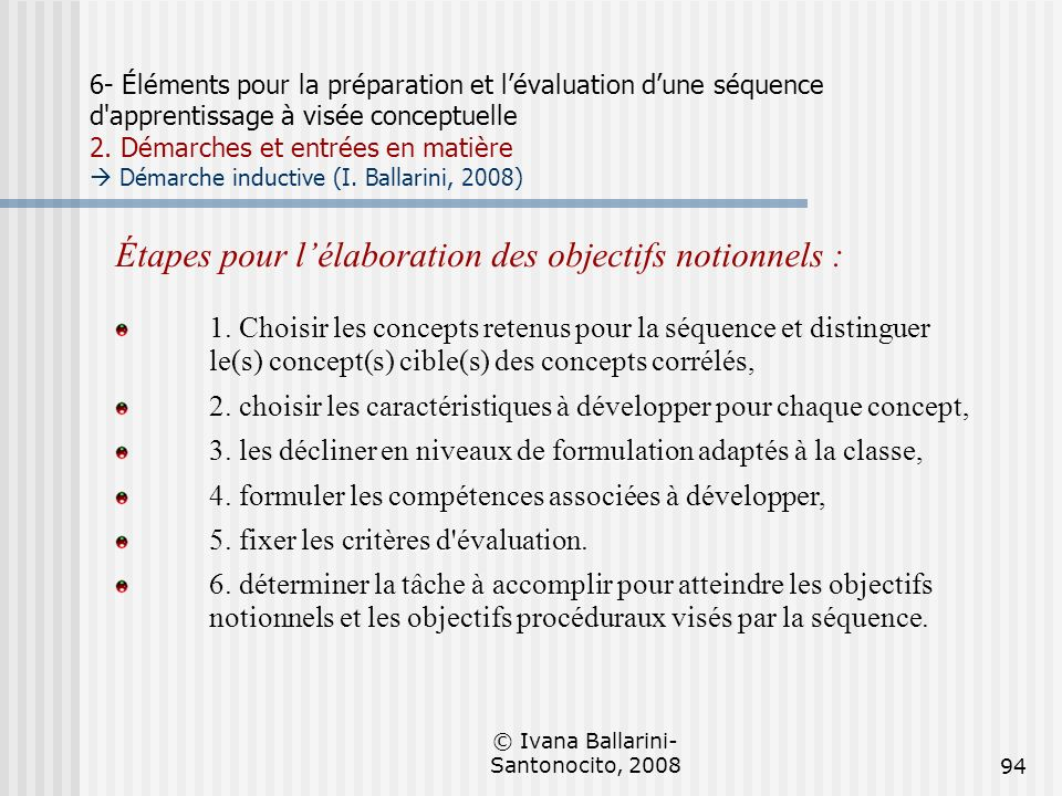 © Ivana Ballarini- Santonocito, 200894 6- Éléments pour la préparation et lévaluation dune séquence d'apprentissage à visée conceptuelle 2. Démarches