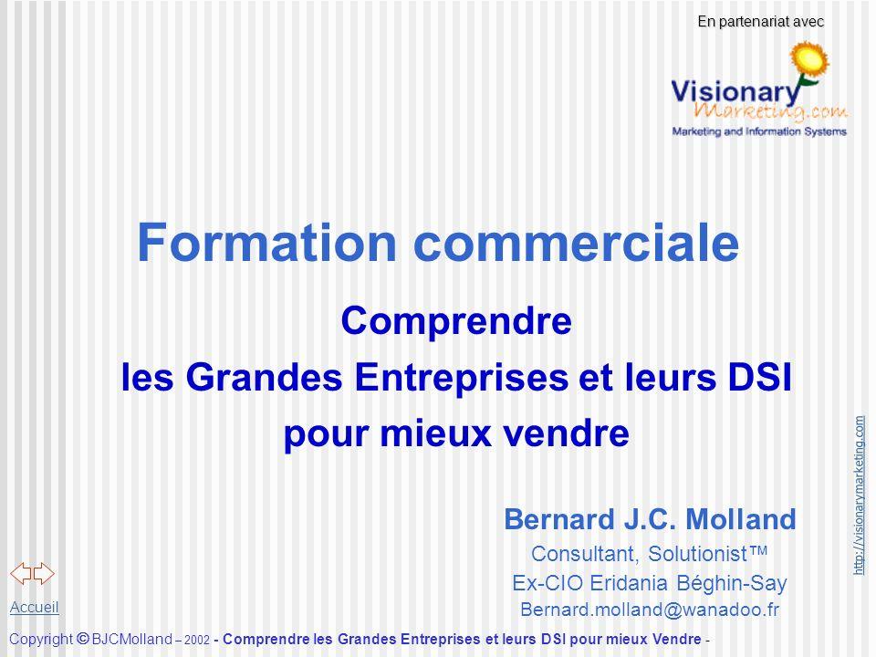 http://visionarymarketing.com Copyright BJCMolland – 2002 - Comprendre les Grandes Entreprises et leurs DSI pour mieux Vendre - Accueil Formation comm