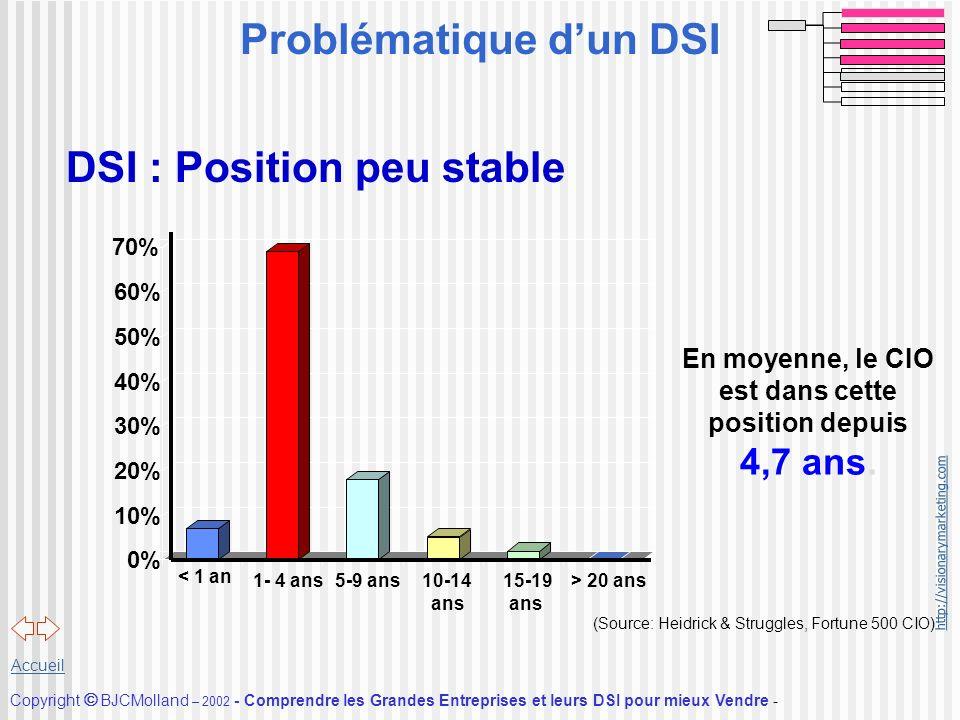http://visionarymarketing.com Copyright BJCMolland – 2002 - Comprendre les Grandes Entreprises et leurs DSI pour mieux Vendre - Accueil DSI : Position