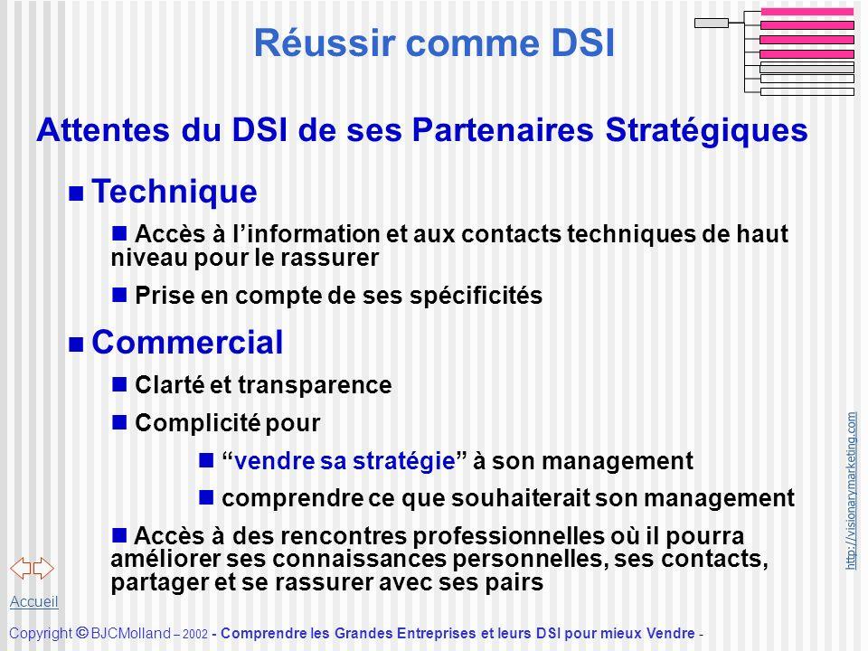 http://visionarymarketing.com Copyright BJCMolland – 2002 - Comprendre les Grandes Entreprises et leurs DSI pour mieux Vendre - Accueil Attentes du DS