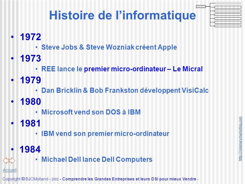http://visionarymarketing.com Copyright BJCMolland – 2002 - Comprendre les Grandes Entreprises et leurs DSI pour mieux Vendre - Accueil Histoire de li