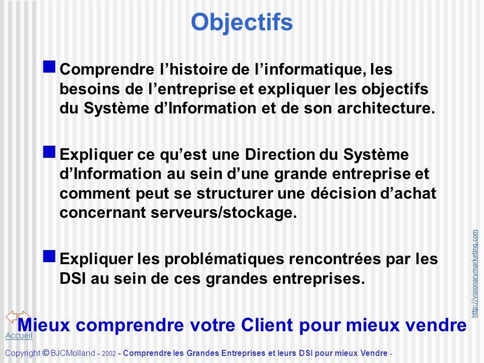 http://visionarymarketing.com Copyright BJCMolland – 2002 - Comprendre les Grandes Entreprises et leurs DSI pour mieux Vendre - Accueil Objectifs Comp