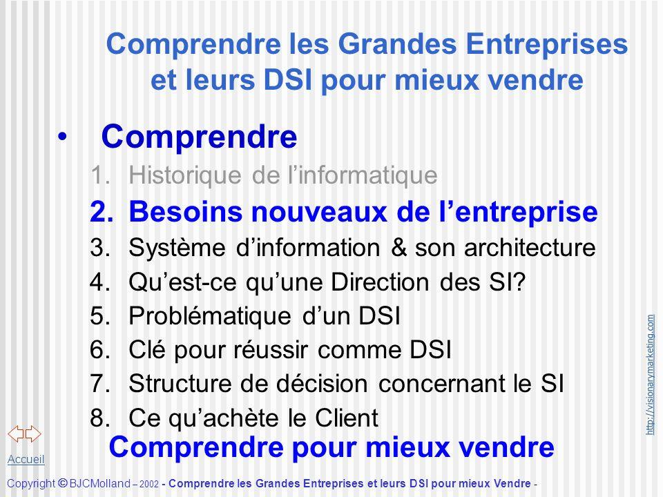 http://visionarymarketing.com Copyright BJCMolland – 2002 - Comprendre les Grandes Entreprises et leurs DSI pour mieux Vendre - Accueil Comprendre les