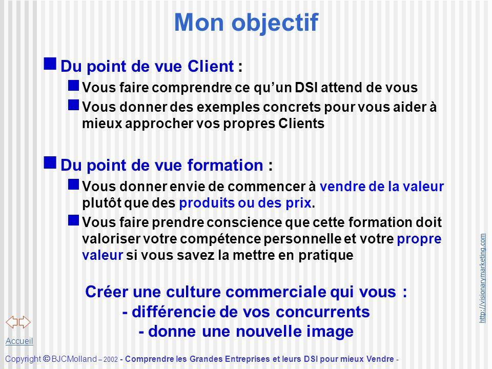 http://visionarymarketing.com Copyright BJCMolland – 2002 - Comprendre les Grandes Entreprises et leurs DSI pour mieux Vendre - Accueil Mon objectif D