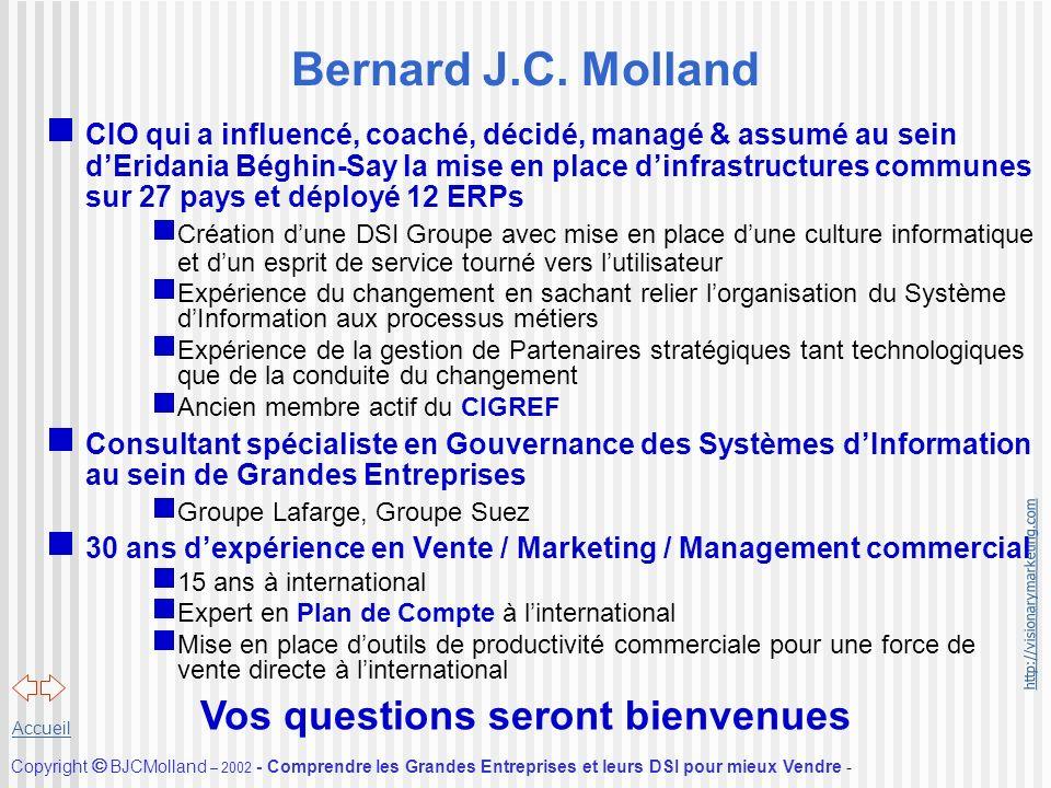http://visionarymarketing.com Copyright BJCMolland – 2002 - Comprendre les Grandes Entreprises et leurs DSI pour mieux Vendre - Accueil Bernard J.C. M