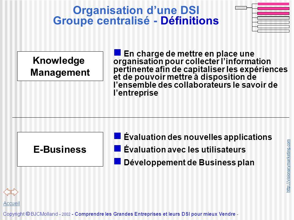 http://visionarymarketing.com Copyright BJCMolland – 2002 - Comprendre les Grandes Entreprises et leurs DSI pour mieux Vendre - Accueil Organisation d