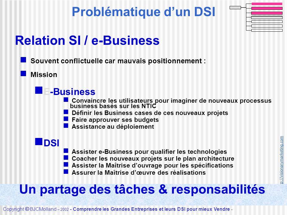 http://visionarymarketing.com Copyright BJCMolland – 2002 - Comprendre les Grandes Entreprises et leurs DSI pour mieux Vendre - Accueil Relation SI /