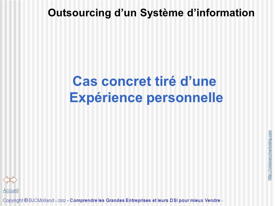 http://visionarymarketing.com Copyright BJCMolland – 2002 - Comprendre les Grandes Entreprises et leurs DSI pour mieux Vendre - Accueil Outsourcing du