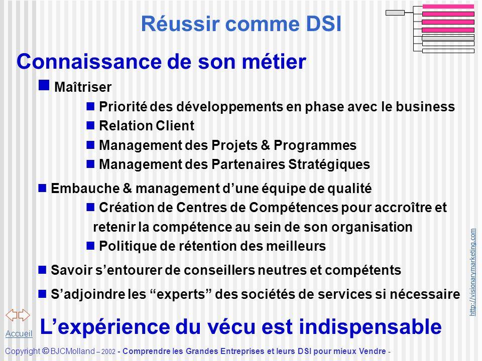 http://visionarymarketing.com Copyright BJCMolland – 2002 - Comprendre les Grandes Entreprises et leurs DSI pour mieux Vendre - Accueil Connaissance d