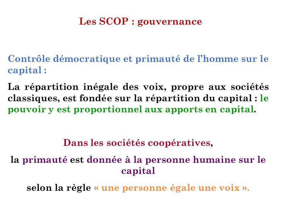 Les SCOP : gouvernance Contrôle démocratique et primauté de lhomme sur le capital : La répartition inégale des voix, propre aux sociétés classiques, e