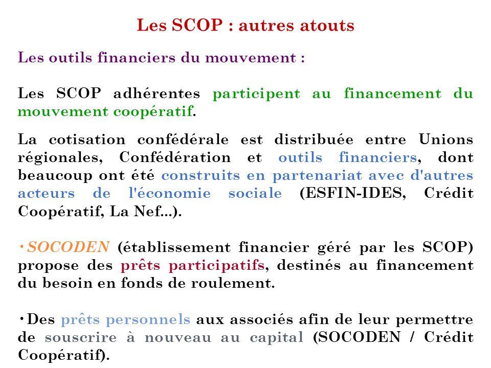 Les SCOP : autres atouts Les outils financiers du mouvement : Les SCOP adhérentes participent au financement du mouvement coopératif. La cotisation co
