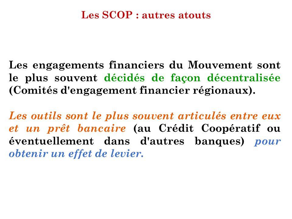 Les SCOP : autres atouts Les engagements financiers du Mouvement sont le plus souvent décidés de façon décentralisée (Comités d'engagement financier r