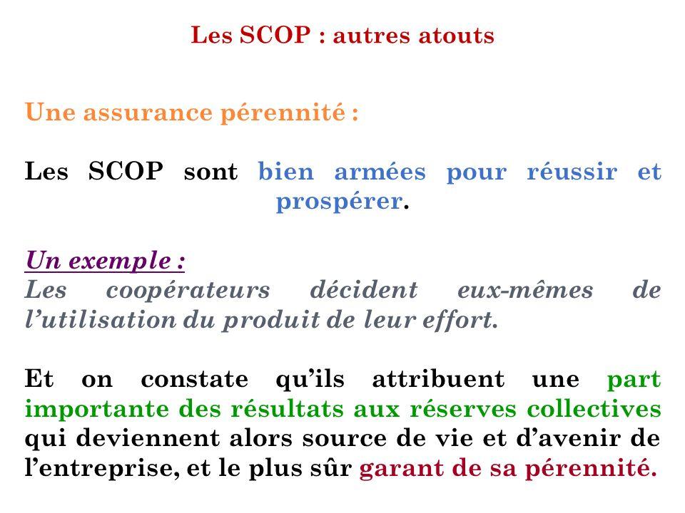 Les SCOP : autres atouts Une assurance pérennité : Les SCOP sont bien armées pour réussir et prospérer. Un exemple : Les coopérateurs décident eux-mêm