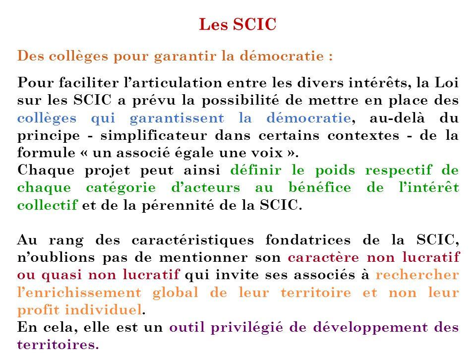 Les SCIC Des collèges pour garantir la démocratie : Pour faciliter larticulation entre les divers intérêts, la Loi sur les SCIC a prévu la possibilité