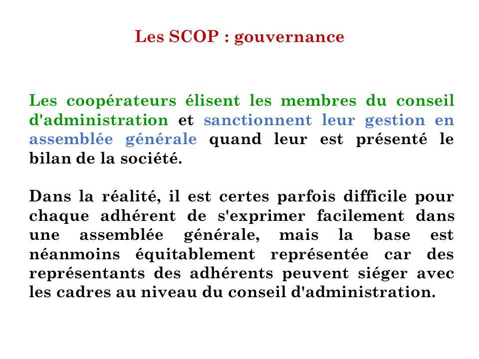 Les SCOP : gouvernance Les coopérateurs élisent les membres du conseil d'administration et sanctionnent leur gestion en assemblée générale quand leur