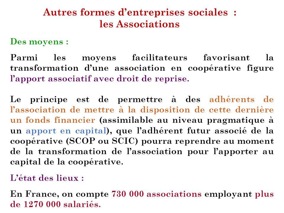 Autres formes dentreprises sociales : les Associations Des moyens : Parmi les moyens facilitateurs favorisant la transformation dune association en co
