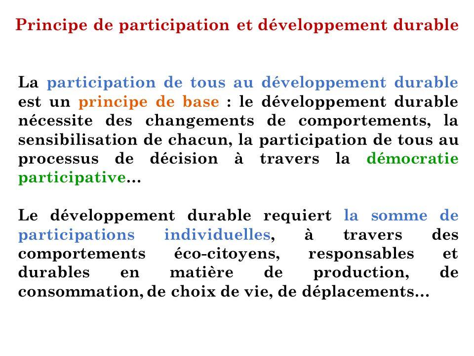 Principe de participation et développement durable La participation de tous au développement durable est un principe de base : le développement durabl