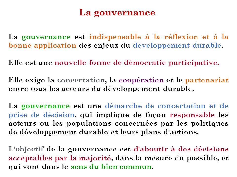 La gouvernance La gouvernance est indispensable à la réflexion et à la bonne application des enjeux du développement durable. Elle est une nouvelle fo