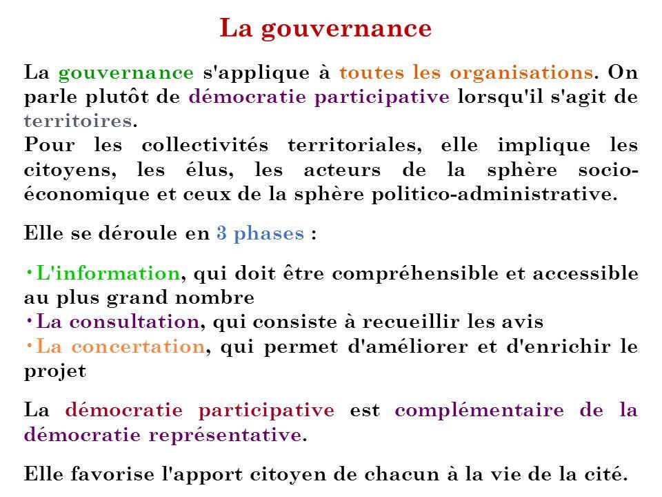 La gouvernance La gouvernance s'applique à toutes les organisations. On parle plutôt de démocratie participative lorsqu'il s'agit de territoires. Pour