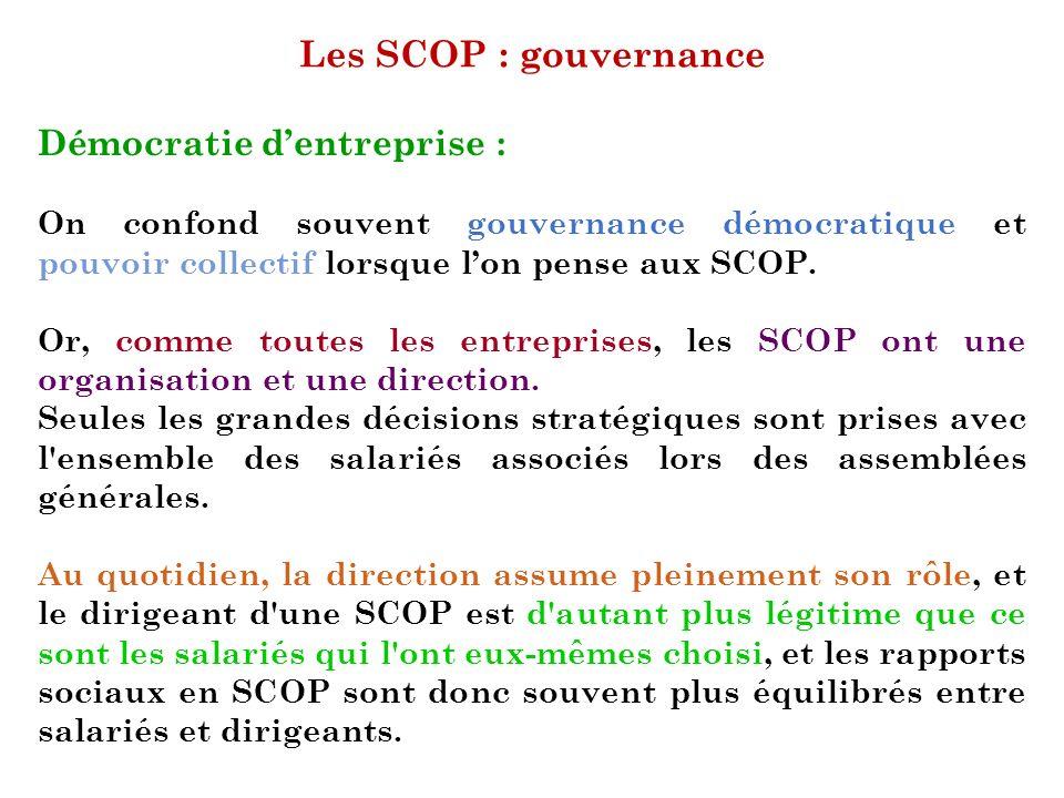 Les SCOP : gouvernance Démocratie dentreprise : On confond souvent gouvernance démocratique et pouvoir collectif lorsque lon pense aux SCOP. Or, comme