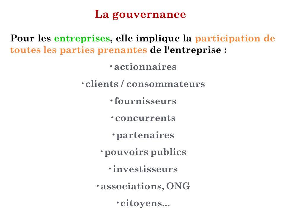 La gouvernance Pour les entreprises, elle implique la participation de toutes les parties prenantes de l'entreprise : actionnaires clients / consommat
