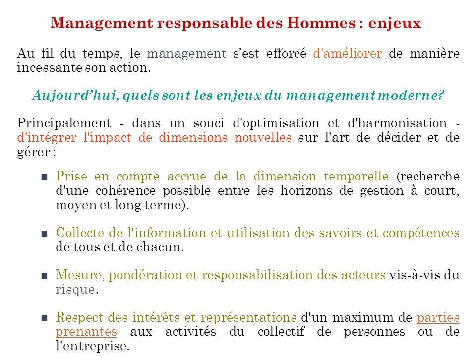 Management responsable des Hommes : enjeux Au fil du temps, le management sest efforcé d'améliorer de manière incessante son action. Aujourdhui, quels