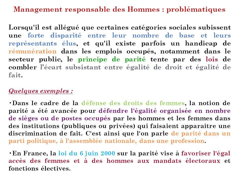 Management responsable des Hommes : problématiques Lorsqu'il est allégué que certaines catégories sociales subissent une forte disparité entre leur no